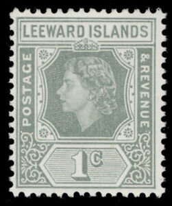 LEEWARD ISLANDS QEII SG127, 1c grey, NH MINT.