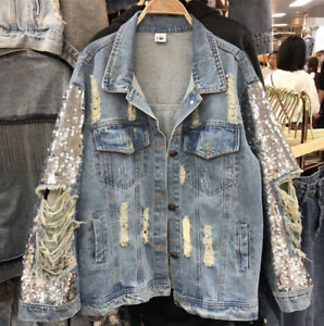 Womens  Fashion Sequins Ripped Denim Jeans Loose Fashion Hole Jacket Coat New
