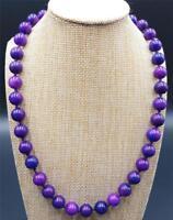 Pretty Natural 10mm Purple Sugilite Gemstone Round Beads Necklace 20''