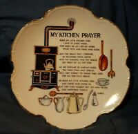 My Kitchen Prayer Vintage Wall Hanging Ceramic Plate Japan 8 Inches