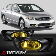 Fits 2009-2011 Honda Civic 4Dr [Yellow] Bumper Fog Light w/Switch+Harness+Bezel