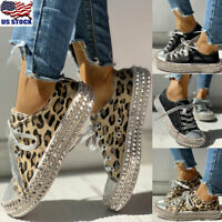 Womens Rivet Studded Platform Trainers Sneakers Ladies Lace Up Casual Shoes Size