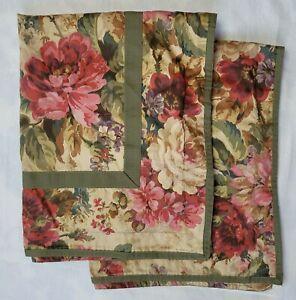 2 Chaps Ralph Lauren Rosemont Shams Standard Pink Red Floral Green Trim 28x22