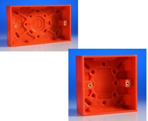 1 and 2 Gang 25mm Surface Box - Red Switches & Sockets