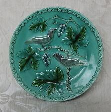 Barbotina Vintage con  fondo verde e uccellini su pianta di vite