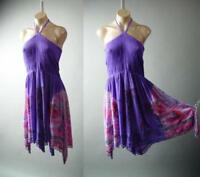 Purple Tropical Island Tie-Dye Palm Tree Beach Smocked Halter Sun 281 mv Dress