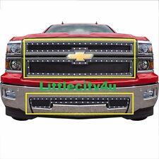 FOR 2014 15 Chevy Silverado 1500 Black Wire Mesh Rivet Grille Grill Combo Insert