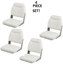 Folding Boat Seats 4-PC   Boating Bass Fishing Pontoon Set  White Vinyl Padded