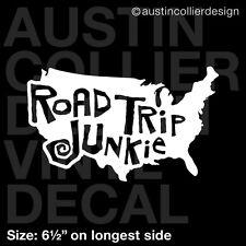"6.5"" ROAD TRIP JUNKIE vinyl decal car truck window laptop sticker - travel usa"