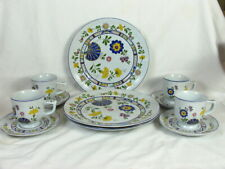 Set Of 3 Bretonne by Georges Briard Ceramic Dinner Plates & 4 Cups W/ Saucers