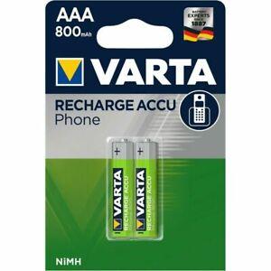2x VARTA Phone-Akku 58398 Micro AAA HR03 800mAh Telefon Accu NiMH FT58398101402
