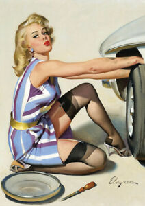 Gil Elvgren - Pinup Girl - A2 size 42x59.4cm Retro Canvas Print Poster Unframed