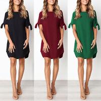 Female Summer Short Sleeve Casual Multi-color Sundress Large T-shirt Dress BS