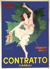 LEONETTO CAPPIELLO CONTRATTO CANELLI1950'S ITALIAN POSTER FOR BARS 39X55 RARE