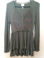 Knox Rose Womens Babydoll Top Size M Green Long Sleeve  Button Detail