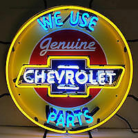 Chevrolet Genuine Parts Neon Sign 5CHVBK - Man Cave Garage Wall Art Game Room