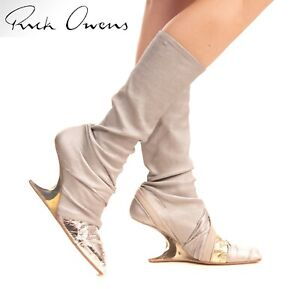 👢 RICK OWENS SILVER GOLD FOIL LEATHER KNEE CANTILEVER WEDGE BOOTS 41 9 10 11 👢