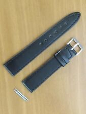 18 MM BLACK Silver BUCKLE GENUINE LEATHER WATCH BAND STRAP Fits ROLEX& BREITLING