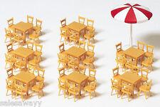 Preiser 17201 8 tavolo, 48 sedie, 1 ombrellone, Kit di costruzione, H0