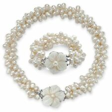 Genuine Cultured Freshwater Pearl 2-Piece Set in Silvertone