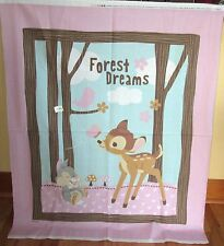 "1 Adorable ""Bambi Woodland Dreams"" Cotton Fabric Quilting/Wallhanging Panel"