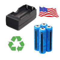 4x 3000mAh 18650 Battery 3.7v Li-ion Rechargeable Batteries for Laser + Charger
