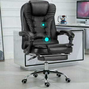 Luxury Massage Computer Chair Office Gaming Swivel Recliner Leather Executive UK