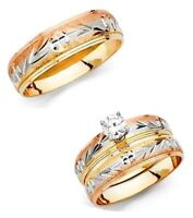 14k Tri Color Gold Leaves Trio Wedding Band Bridal Solitaire Engagement Ring Set