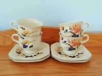 MIKASA CONTINENTAL IVORY F 4005 MAJESTIC SET OF 4 COFFEE OR TEA CUPS & SAUCERS.