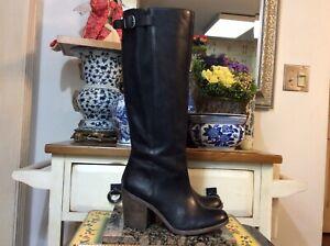 Lucky Brand Women's Orman Tall Riding Boots Sz 8 Black Leather Knee High , EUC
