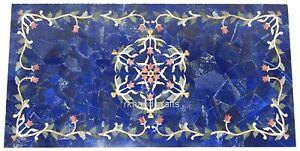 Lapis Lazuli Stone Coffee Table Top with Random Work Center Table 24 x 48 Inches