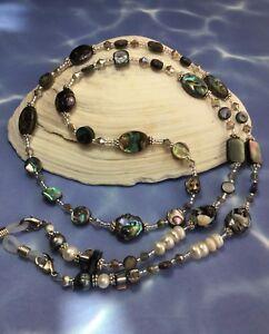 Handmade Abalone Shell Pearl Eyeglass Chain/Lanyard W/Swarovski Elemenets USA