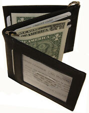 "Men""s Cow Leather Double Money Clip Z-Fold Trifold Wallet 9 Cards Outside ID Bk"