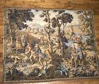 "48.""x 39""VTG European Medieval Dog Hunting Scene Hanging Tapestry Wall Art"
