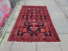 Vintage Worn Hand Made Traditional Oriental Wool Blue Red Large Rug 199x130cm