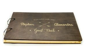 Personalized Wooden Wedding Guest Book, Rustic, Arrows, Newlyweds