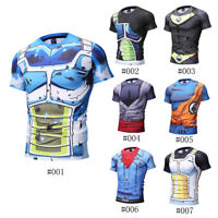 3D Compression Men Workout T-shirts Dragon Ball Z Cosplay Tops Super Saiyan Tee