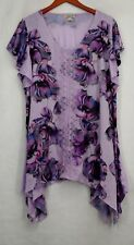 One World Plus Size Top 2X Lace Front Double Print Sharkbite Purple New