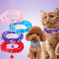 Buckle Lace Puppy Cat Accessories Dog Collar Bell Pendant Cat Collars Necklace