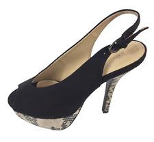 Womens Ladies Black Snake Print High Heel Slingback Sandals Shoes Size UK 3 Used