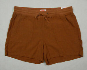 NEW Evri Pull On Linen Blend Womens Brown Shorts 16W 18W 20W 22W 24W