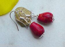 Ohrringe Rote SCHAUMKORALLE Tropfen 925er Silber Ohrhaken Edelstein Ohrhänger