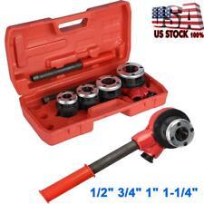 """Manual Plumber Pipe Threading Kit 1/2"""" 3/4"""" 1"""" 1-1/4"""" 4 Dies Threader Tool Usa"""