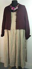 Barbara Lang pinafore dress UKXL OSFA  Lagenlook linen hessian colour Oversized