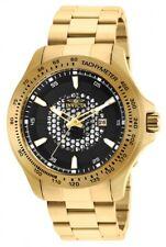 New Mens Invicta 25337 Speedway Black Dial Gold Tone Bracelet Watch