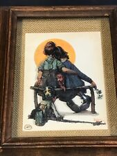 """NORMAN ROCKWELL """"Little Spooners"""" 3d Multi Layer Tin Painting Framed Shadow Box"""