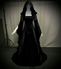 New Black Gothic Medieval Hooded Velvet Corset Gown Robe Dress size 5XL 22 24 26