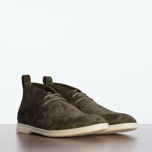 LORO PIANA 1075$ Softey Walk Ankle Boots In Khaki Green (Levriero) Suede