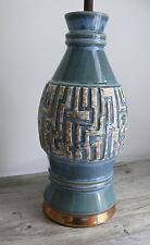 Mid Century Pottery Lamp Turquoise Blue & Green Gold Gilt Geometric Greek Key
