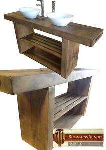 Vanity Unit Wash Stand Sink Basin Solid Oak Bespoke Rustic Jacobean Finish